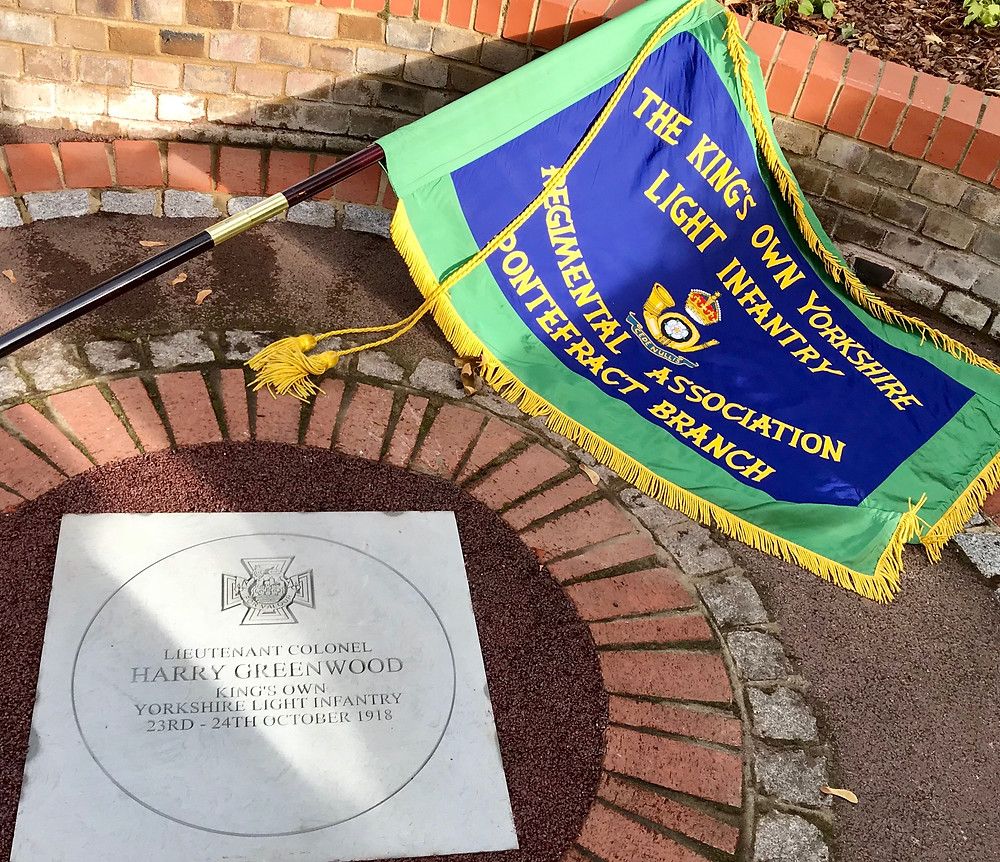 Lt Col Harry Greenwood VC Centenary Stone and Pontefract Branch KOYLI Standard
