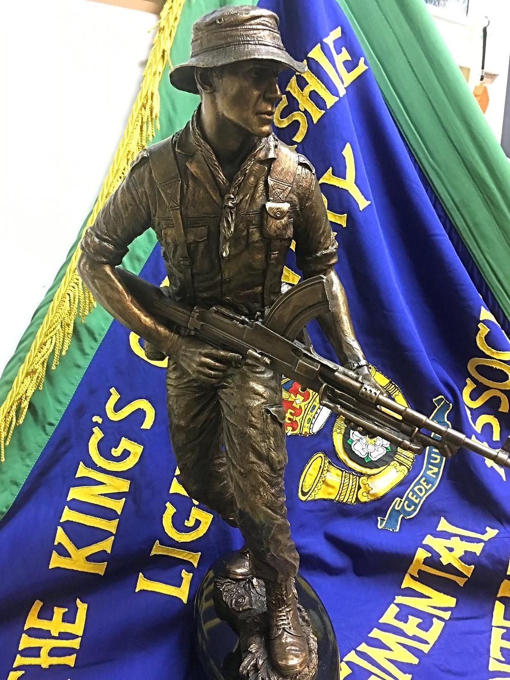 Maquette of KOYLI Memorial Statue on a KOYLI Standard