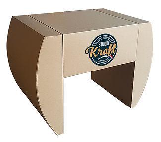 table basse en carton modéle Club réalisation studio kraft à Montauban