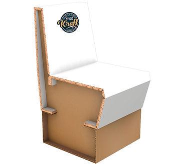 Chaise en carton réalisation studio kraft fabricant de meuble en carton sur Montauban