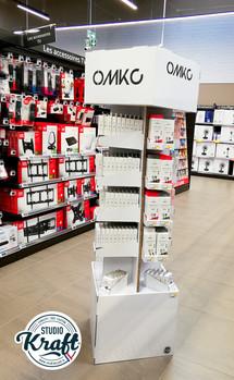 Présentoir en carton pour la société OMKO