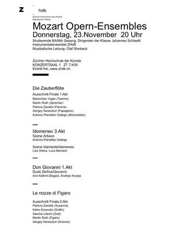 Mozart Opern-Ensembles, 23.11.2017, Zürcher Hochschule der Künste