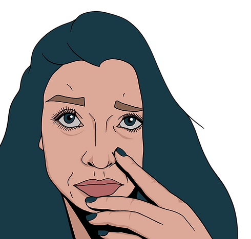 Self portrait illustration of Nina with teal hair and nails.
