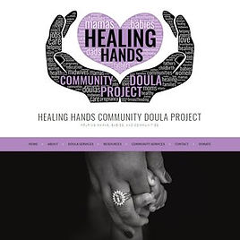Screenshot of a Healing Hands Community Doula Project's website design