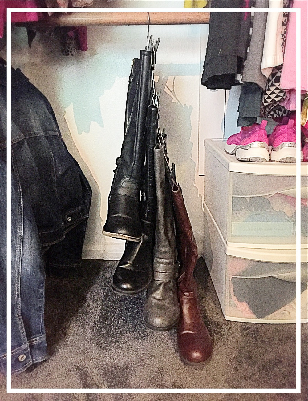 using every inch of closet space. hang boots using a boot hanger or a skirt hanger