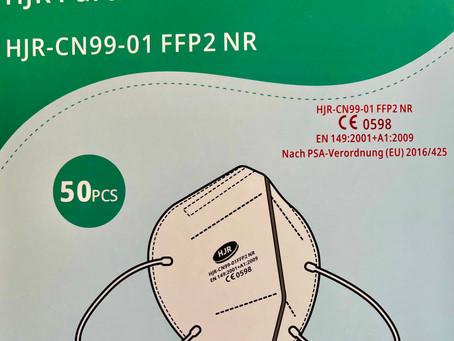 FFP2 Masken ohne Ventil HJR, einzeln verpackt, 50 Stück, gemäß CE EN 149:2001 + A1:2009