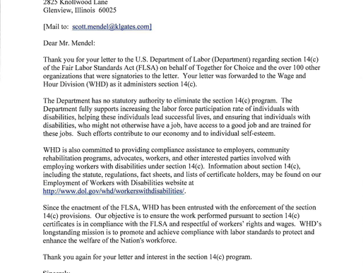 U.S. Department of Labor's Response Letter regarding Section 14(c) of Fair Labor Standards Act