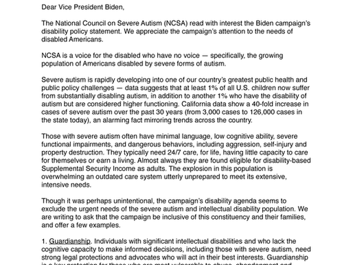 NCSA's response to VP Biden's Disability Policy Statement