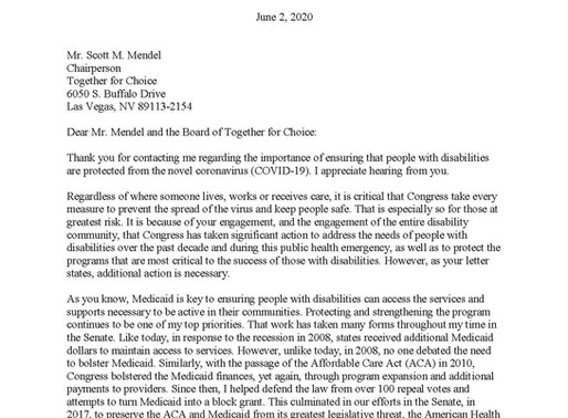 Senator Bob Casey's Letter to Together for Choice