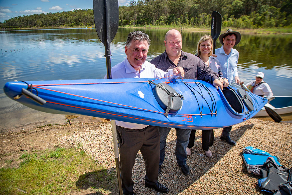 Seqwater CEO Neil Brennan, Kurwongbah MP Shane King, Pine Rivers MP Nikki Boyd and NRME Minister Dr Anthony Lynham at Forgan Cove, Lake Samsonvale