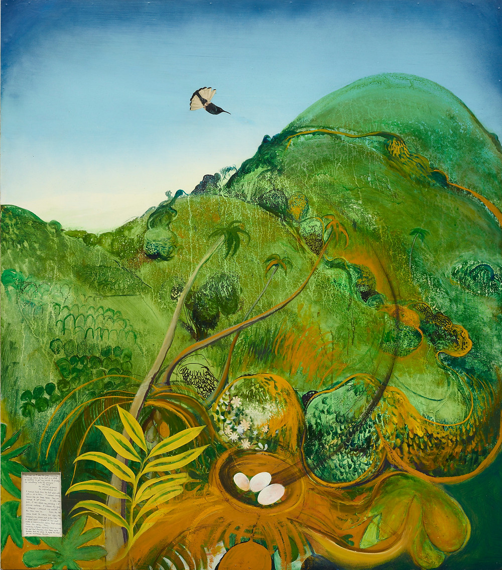 Brett Whiteley, The green mountain (Fiji), 1969, oil. Art Gallery of New South Wales Collection, Gift of Patrick White, 1979. © Wendy Whiteley.