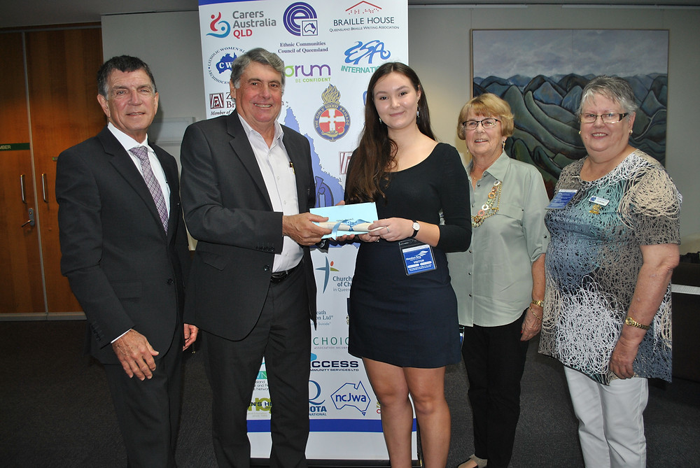 Deputy Mayor and Division Nine Councillor Mike Charlton, Moreton Bay Regional Council Mayor Allan Sutherland with bursary recipient Tiffanie Turnbull, Moreton Bay Region Bursary Coordinator Avril Kent and National Council of Women of Queensland President Lyn Buckley.