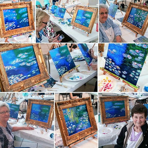Collage of paintings from Amy Williams's Monet class