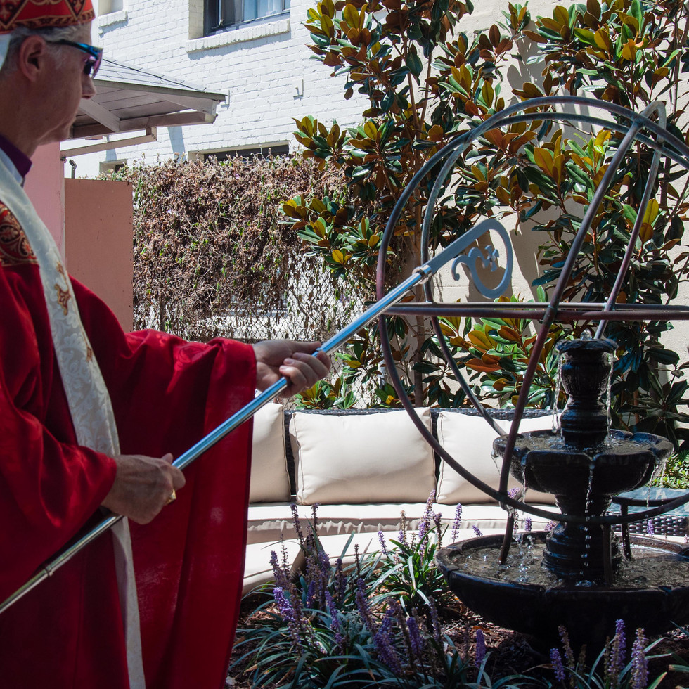 Blessing of new fountain at the American Headquarters, LA, USA