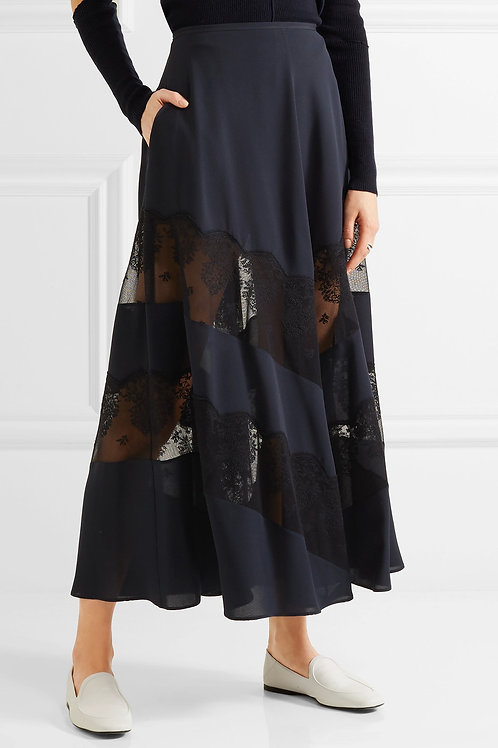 Silk and Lace A-Line Skirt