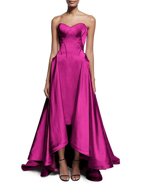 Strapless Ribbed Taffeta Evening Gown