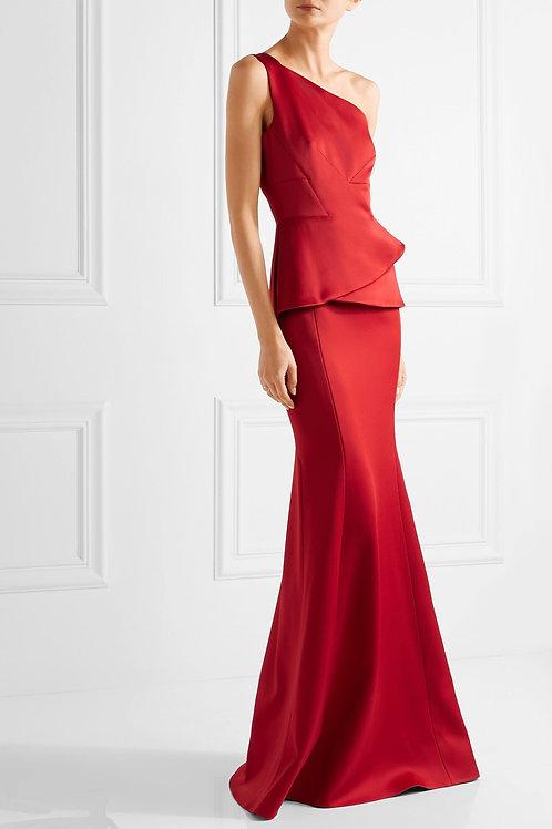 One Shoulder Geometric Peplum Gown