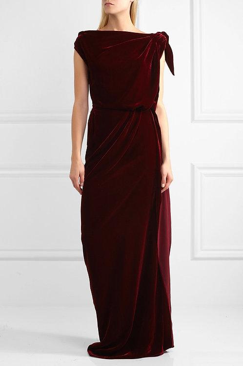 Grecian Draped Velvet Gown