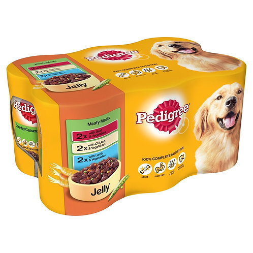 Pedigree Dog Tins Meaty Meals in Jelly 6 x 385g