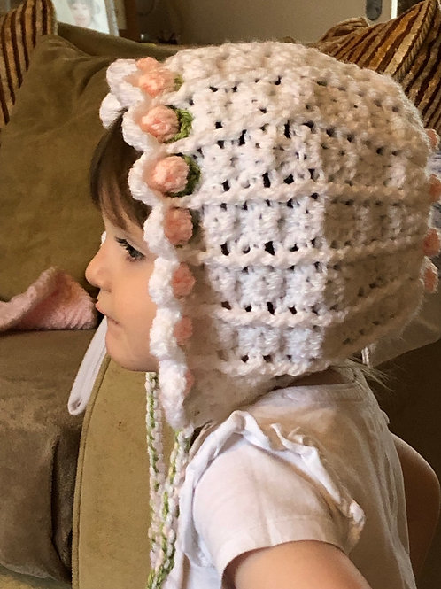 Hand crocheted rosebud bonnet