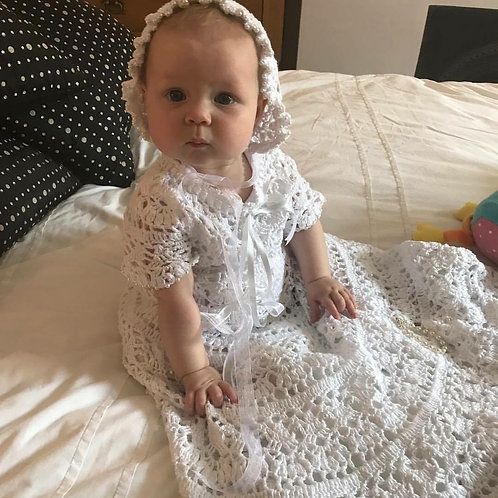Carina christening dress and bonnet with seed pearls