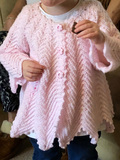 Toddler hand crocheted cardigan