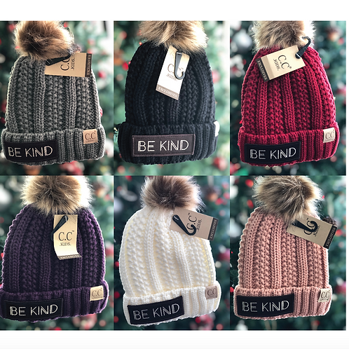 Youth Sized BE KIND CC Beanie Fuzzy Lined