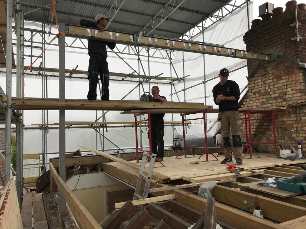 Ridge beam installation