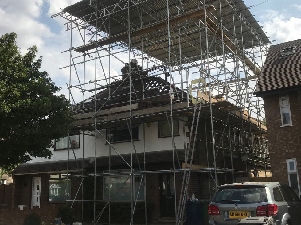 Roof over scaffolding