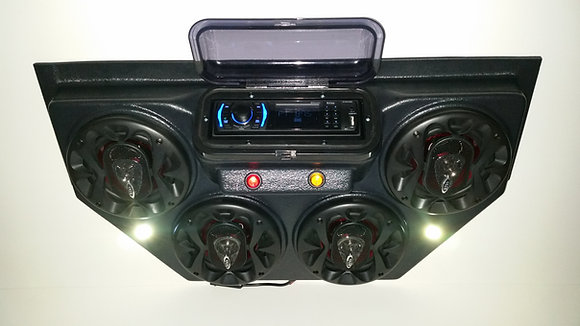 Golf Cart UTV Overhead Stereo Radio Console Bluetooth 4 Speaker Sound System!