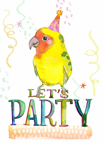 Let's Party Yellow Parrot 5x7.jpg