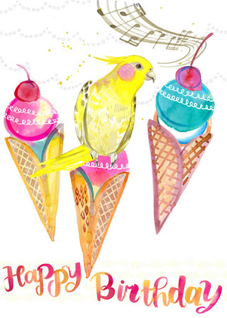 Birthday Cones with cockatiel 5x7.jpg