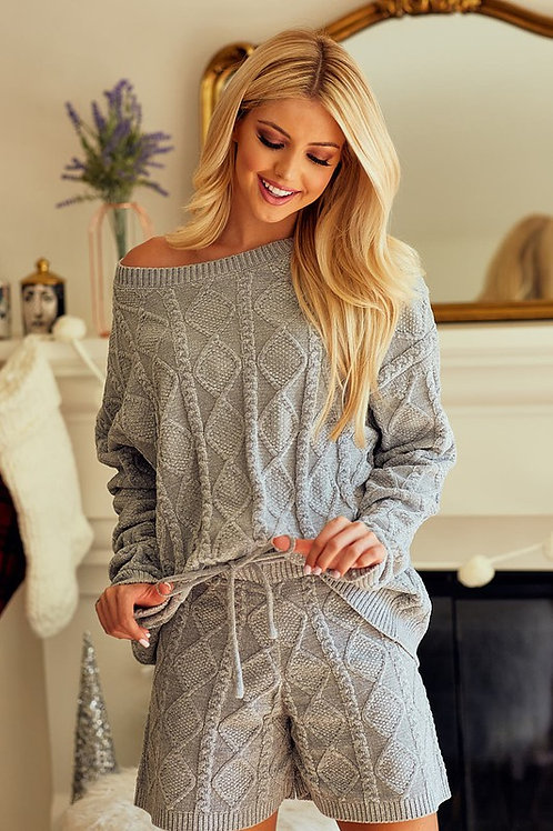 Chenille Sweater and Short Set - Grey