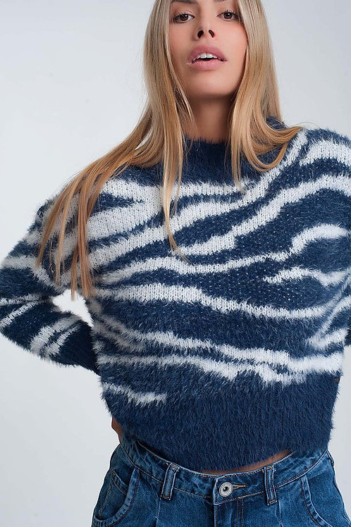 Fuzzy Zebra Woven Mock Turtleneck - Navy/White