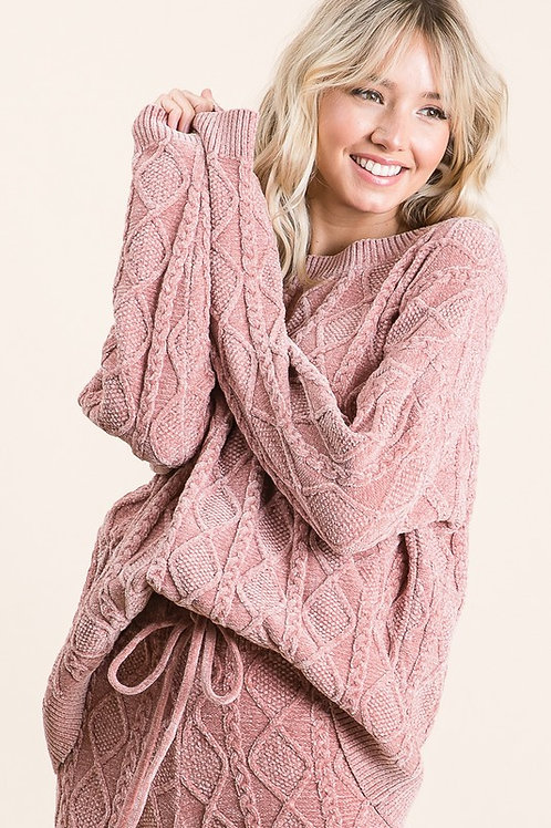 Chenille Sweater and Short Set - Blush