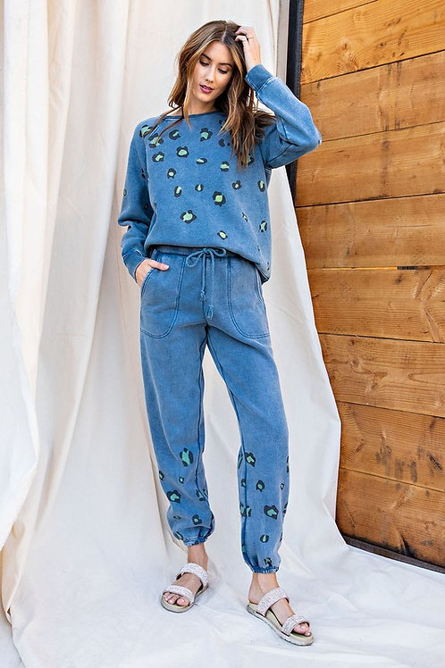 Leopard Lounge Sweatpants - Dusty Blue