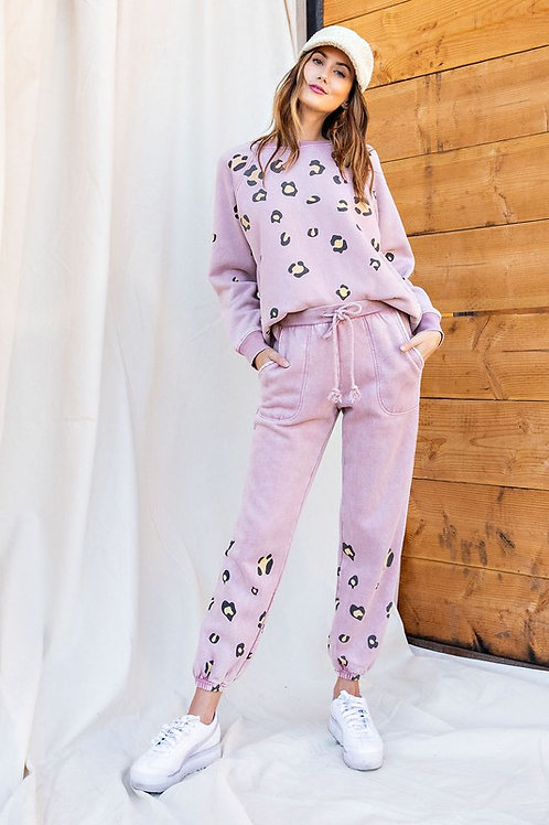 Leopard Lounge Sweatpants - Antique Pink