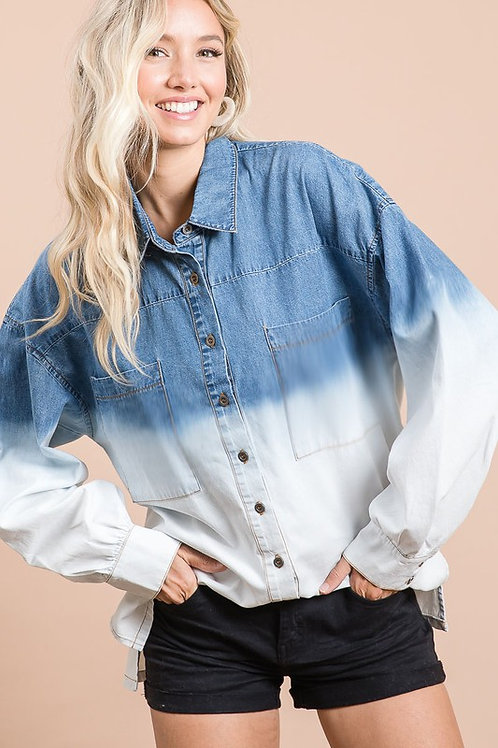 Oversized Ombre Button Down