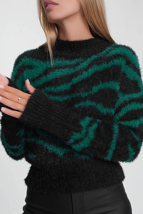 Fuzzy Zebra Woven Mock Turtleneck - Green/Black