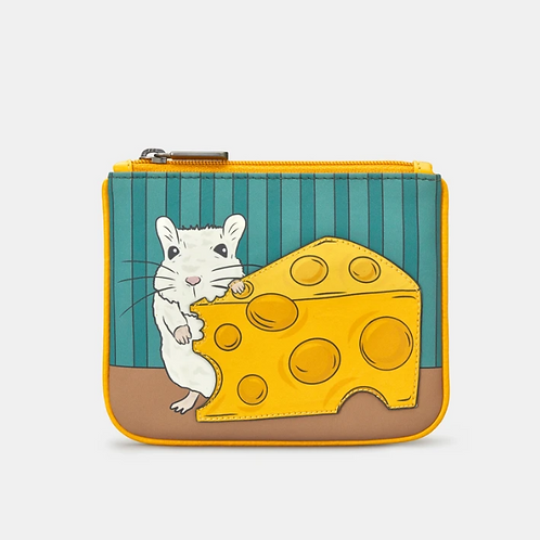 YOSHI Mouse And Cheese Zip Top Leather Purse