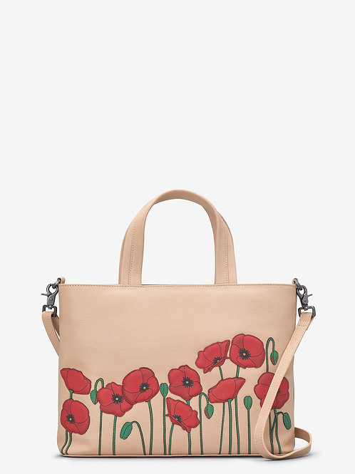 YOSHI Poppy Flower Frappe Leather Multiway Grab Bag