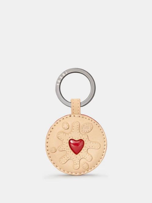YOSHI Jammie Dodger Biscuit Applique Leather Keyring