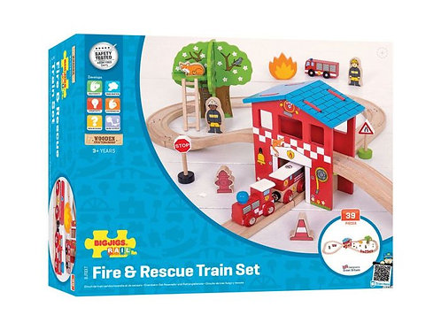 BIGJIGS Fire & Rescue Train Set