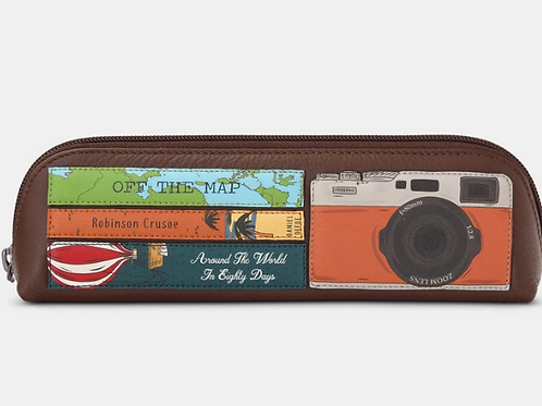 YOSHI Travel Bookworm Brown Leather Pencil Case