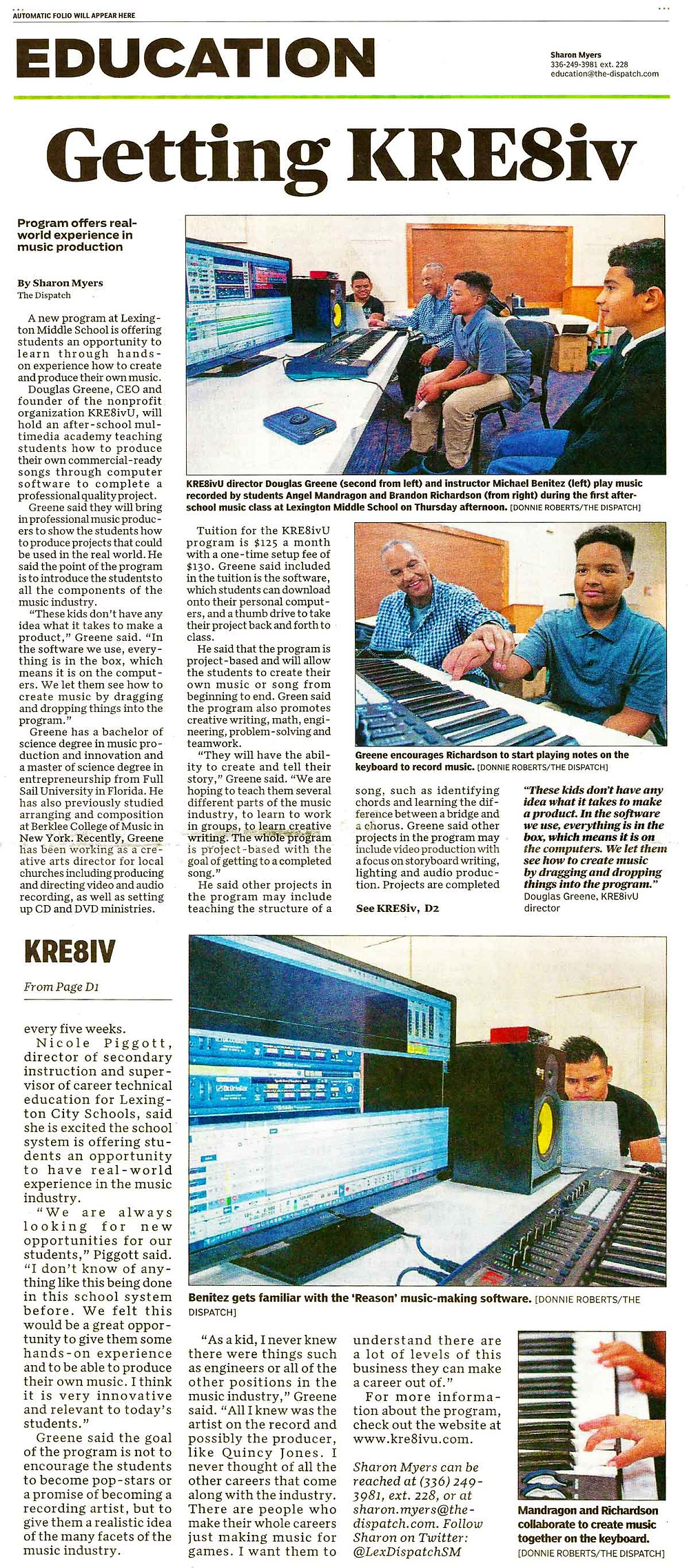 Getting KRE8iv - click to see full article.