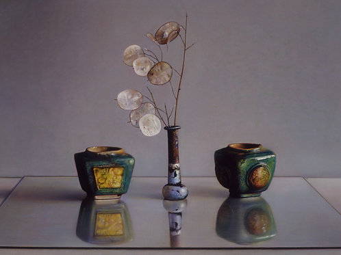 Still life with Honesty in Roman glass and Chinese jars.
