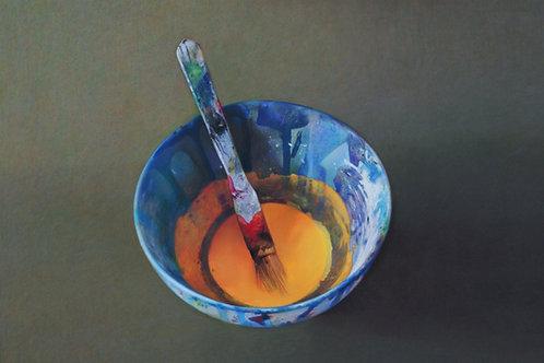 Cadmium yellow mixing bowl (signed print)