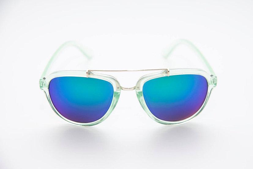 Aviator Round Reflective Lens 80s 90s sunglasses green