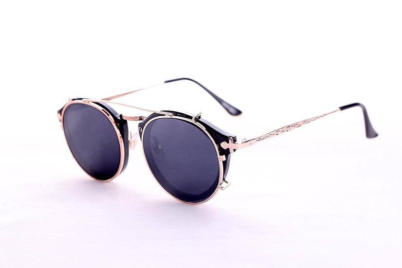 Clip-on Round Lenses 80s 70s 60s black sunglasses