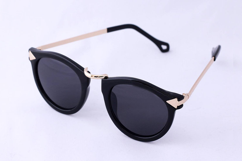 Fashion round frame 70s 80s woman sunglasses black